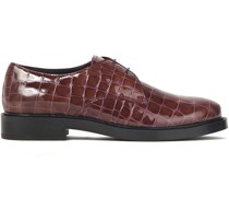Glossed Croc-effect Leather Brogues