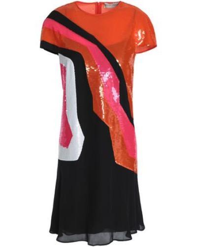Sequined Silk-georgette Mini Dress Orange