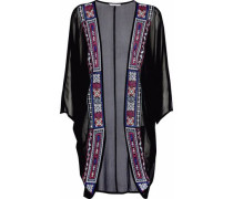 Draped embroidered georgette coverup