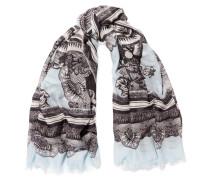 Fringed Jacquard Modal And Cashmere-blend Scarf Hellblau