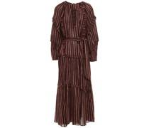 Ruffle-trimmed Metallic Striped Cotton And Lurex-blend Gauze Midi Dress