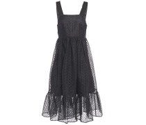 Sylvia Fluted Broderie Anglaise Organza Midi Dress