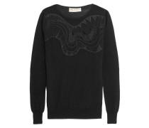 Embroidered Silk-blend Chiffon-paneled Wool Sweater Schwarz