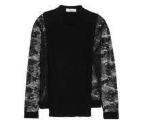 Guipure lace-paneled ribbed wool and cashmere-blend sweater