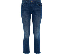 Woman Mara Cropped Frayed Mid-rise Skinny Jeans Dark Denim