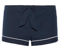 Seersucker Cotton Pajama Shorts Navy