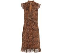 Minikleid aus Georgette mit Leopardenprint und Rüschen