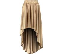 Draped Metallic Satin Skirt Gold