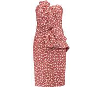 Asymmetric ruffled brocade dress
