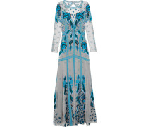 Flutura Embroidered Tulle Gown Azurblau