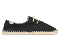 Derby Lace-up Canvas Espadrilles Schwarz