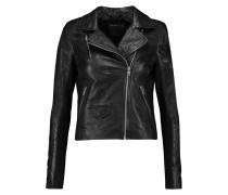 Everdene Crinkled-leather Biker Jacket Schwarz