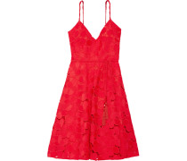 Belted Guipure Lace Dress Signalrot