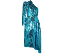 One-shoulder Sequined Chiffon Midi Dress