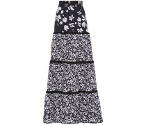 Tiered Floral-print Stretch-cotton Maxi Skirt