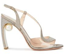 Slingback-sandalen aus Pvc und Lamé mit Kunstperlen