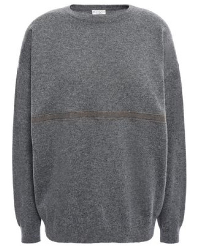 Bead-embellished Cashmere Sweater Dark Gray