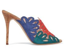 Jelia Cutout Color-block Nubuck Sandals Mehrfarbig