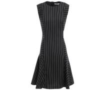 Flared Pinstriped Crepe Mini Dress