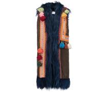 Faux Fur-trimmed Embellished Faux Suede Gilet Mehrfarbig
