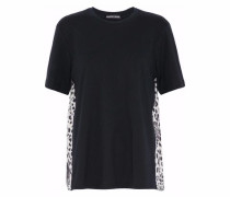 Paneled leopard-print silk and cotton-jersey top