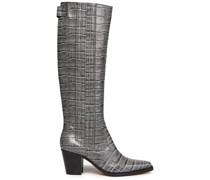 Kniehohe Stiefel aus Leder mit Krokodileffekt