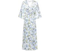 Woman Pleated Floral-print Silk-satin Midi Dress Light Blue