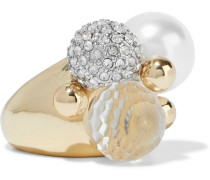 -plated, Crystal And Faux Pearl Ring