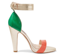 Wimbledon Snake-effect Leather Sandals Gold