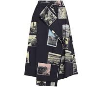 Draped Printed Cotton-poplin Skirt
