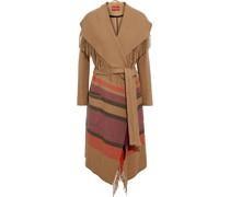 Fringed Striped Felt Coat