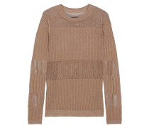 Andrea Metallic Ribbed And Open-knit Sweater