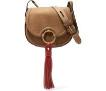 Tasseled Leather Mini Shoulder Bag Braun