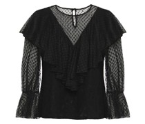 Ruffled Cotton-blend Point D'esprit And Corded Lace Blouse