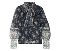Antoine Pussy-bow Floral-print Fil Coupé Silk-blend Chiffon Blouse