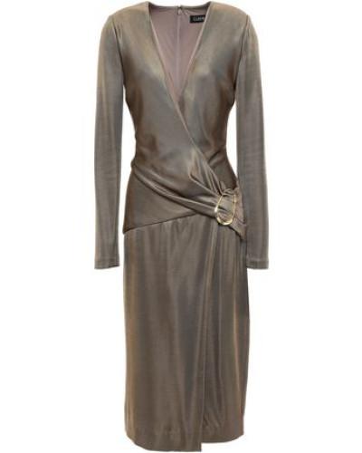 Wrap-effect Knitted Dress Brass