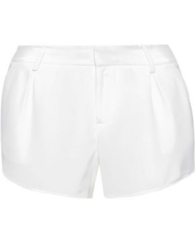 Butterfly Pleated Silk-satin Shorts White