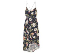 Reena Wrap-effect Floral-print Matte-satin Dress