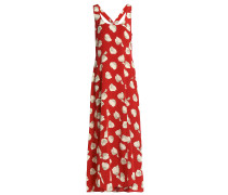 Fluted Printed Silk Crepe De Chine Maxi Dress