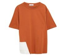 T-shirt aus Baumwoll-jersey mit Satineinsatz