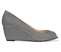 Juno Glittered Leather Wedge Pumps Silber