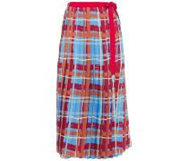 Pleated Printed Crepe De Chine Midi Wrap Skirt