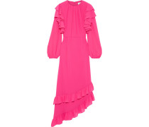 Asymmetric Ruffled Crepe Gown