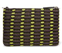 Metallic Crochet-knit Clutch Brombeere