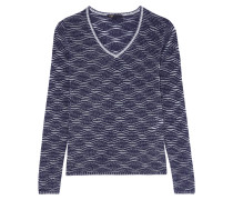 Metallic Open-knit Sweater Mitternachtsblau