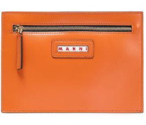 Glossed-leather Pouch Orange Size --