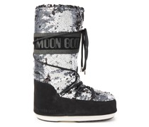 Sequined Woven And Suede Snow Boots