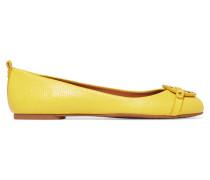Mini Miller Textured-leather Ballet Flats Gelb