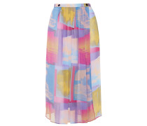 Pleated Printed Georgette Midi Wrap Skirt