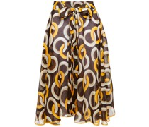 Ofione Printed Cotton And Silk-blend Skirt